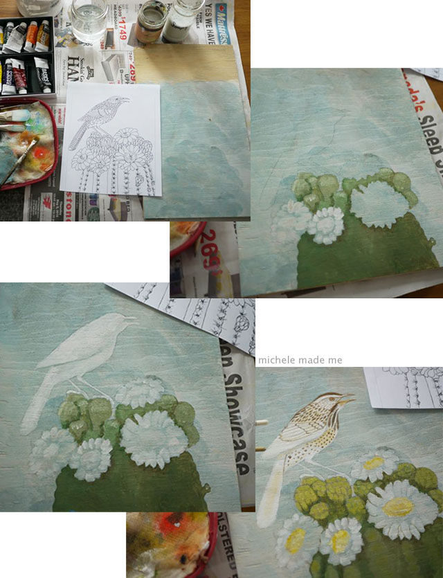 Process of colouring page painting of bird @ Michele Made Me