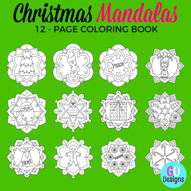 Christmas Mandala colouring book for kids