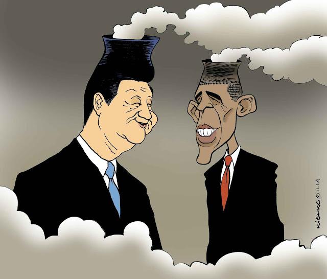 Para fazer rir: Obama e Xi Jinping presidem os países que mais produzem CO2. Mas a enganação é apresentar esse gás incolor como fumaça!