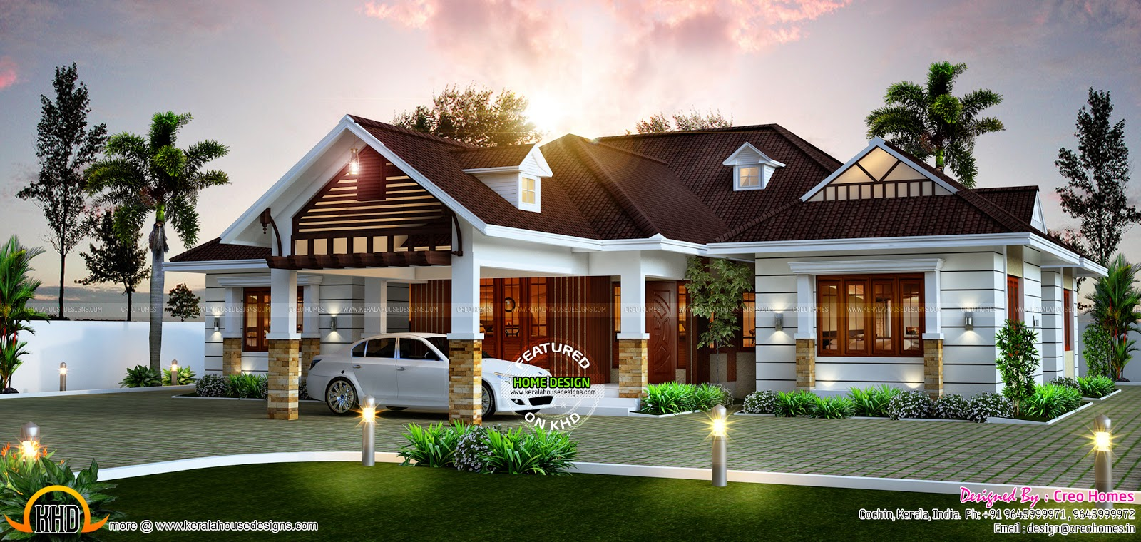 Awesome single storied home kerala home design and floor for Single floor house plans kerala style