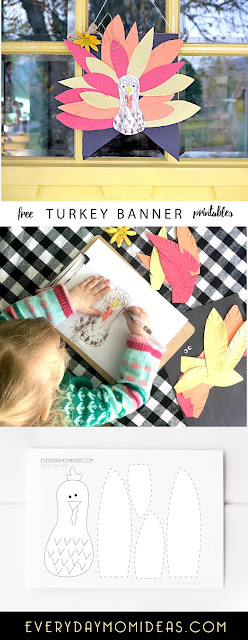 Thanksgiving Turkey Paper Banner Sign (Kids Paper Craft + FREE Printable)