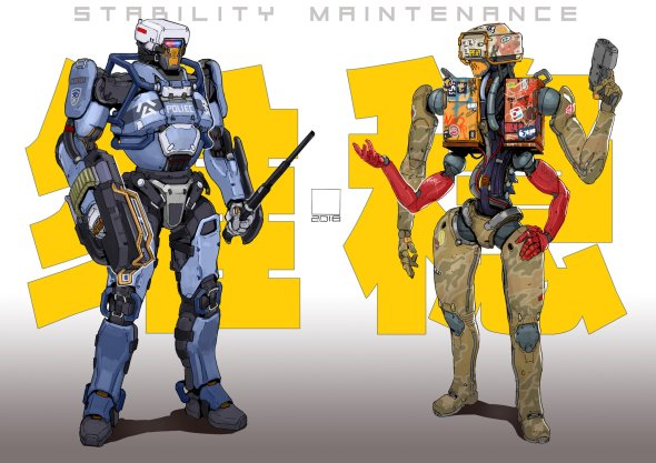 Tan Di artstation arte ilustrações ficção científica cyberpunk
