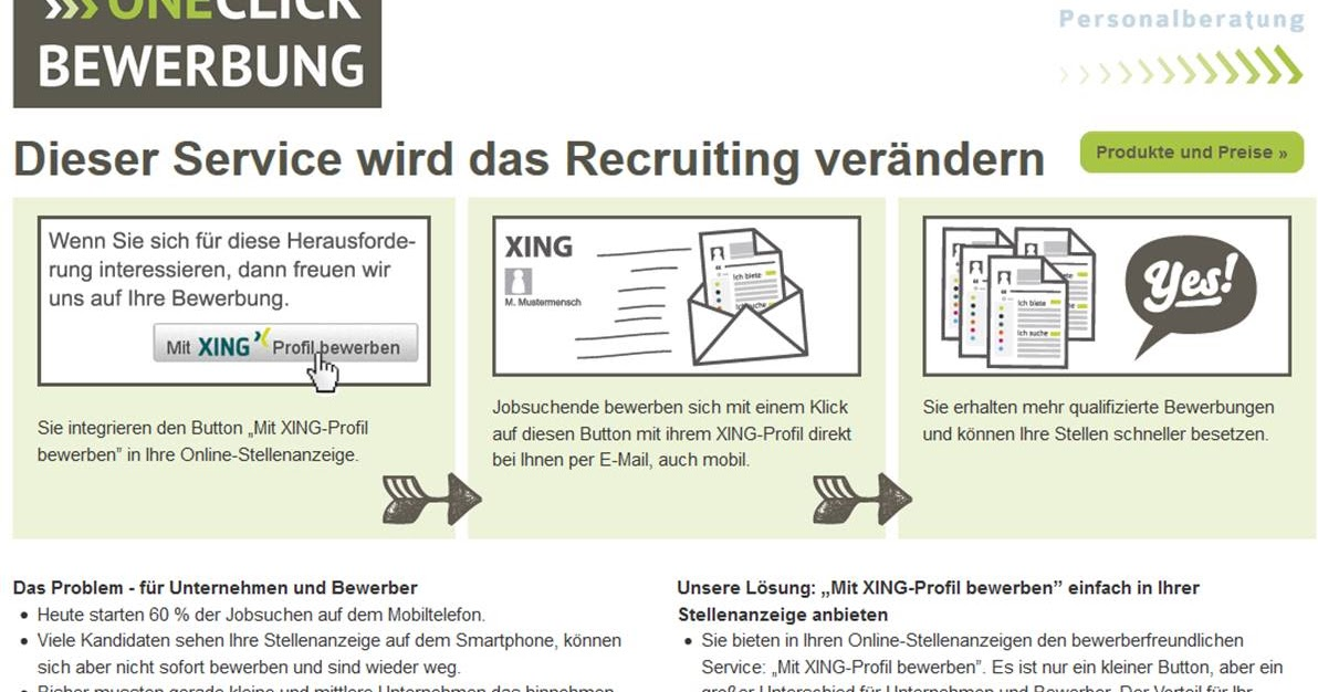 candidate experience praxis one click bewerbung fr kmus - Bewerbung Xing