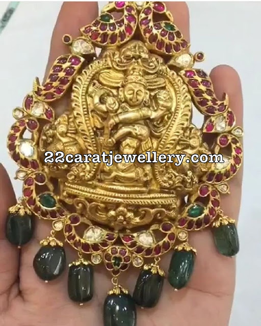 Nakash Krishna Pendant with Peacocks