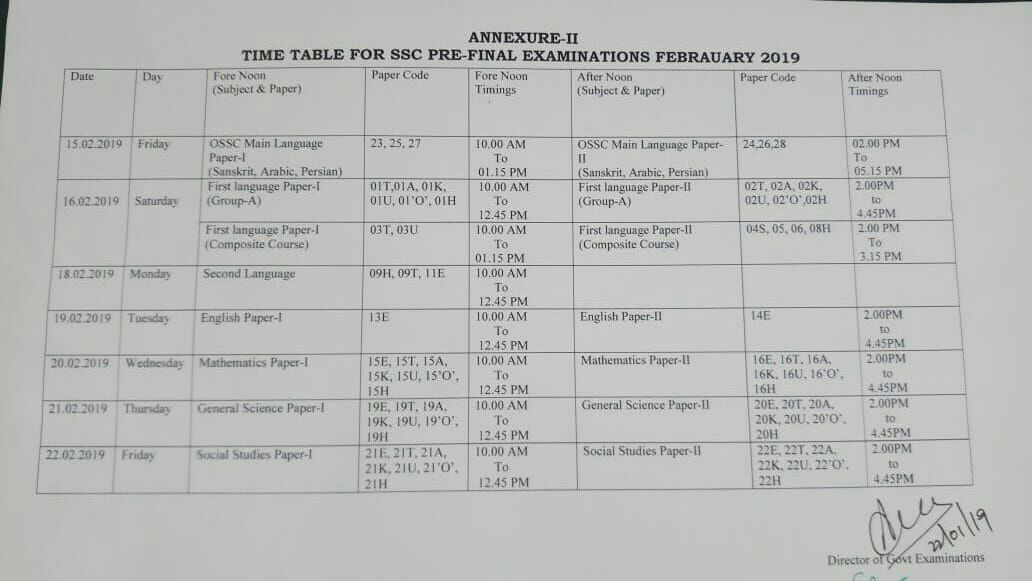SSC Pre Final Examinations Time Table ~ Latest