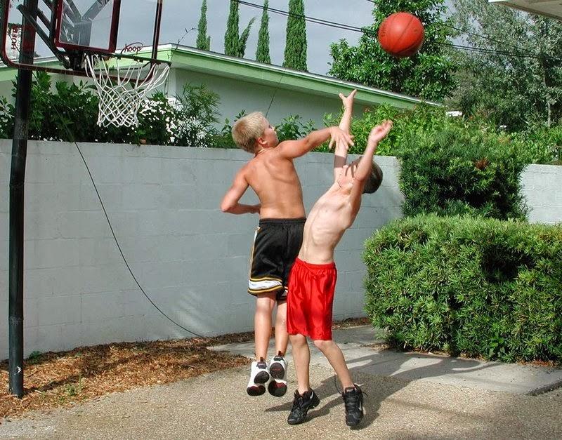 boys playing basketball naked