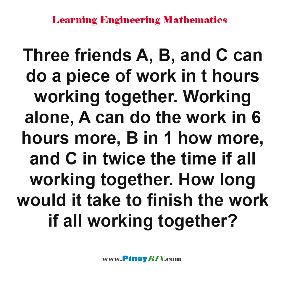 How long would it take to finish the work if all working together?