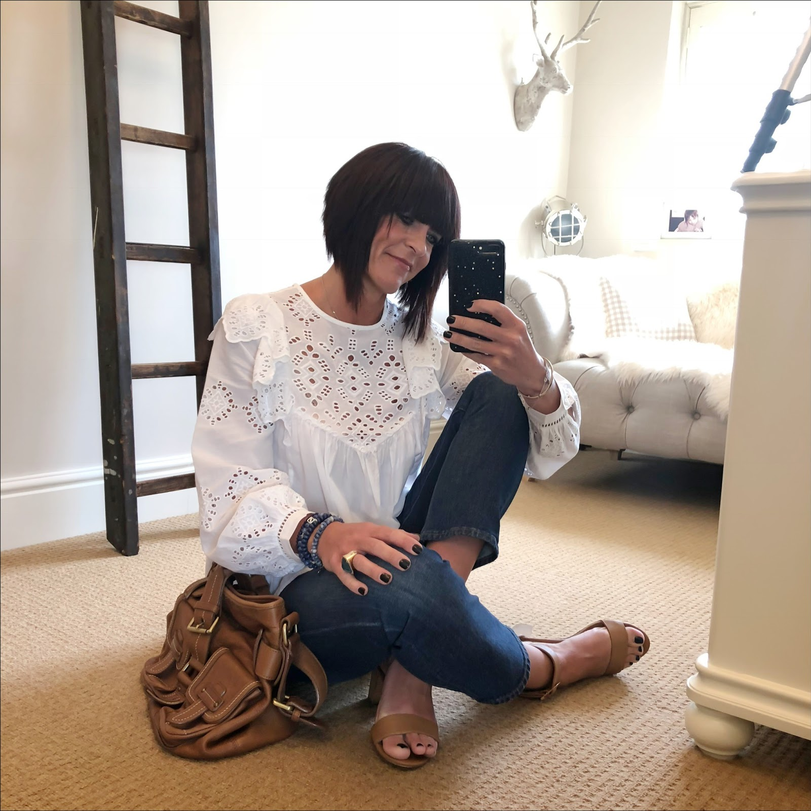 my midlife fashion, h and m broderie anglaise embroidered blouse, massimo dutti tan leather tote, j crew billie demi boot crop jeans, next tan block heel sandals