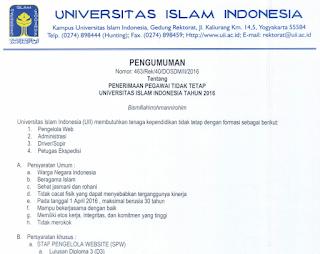 Rekrutmen Pegawai Tidak Tetap Universitas Islam Indonesia Tahun 2016