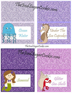 Ocean Water, Under The Sea Cupcakes, Seaweed, Glitter Seashells DIY Mermaid Under The Sea Birthday Party Printables-Food Label Tent Cards, Cupcake Toppers, Flag Garland Hanging Banner-Purple Glitter Digital Download Template-Seahorse, Jellyfish, Hermit Crab Chocolate Sea Shells, Fish Eggs, Ocean Waves, Mermaid Sandwiches How many Pearls, Take A Guess, Guess How Many Seashells, How Many?