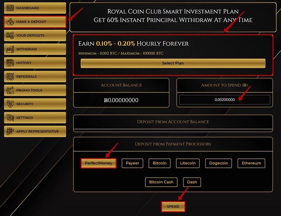 Создание депозита в RoyalCoin