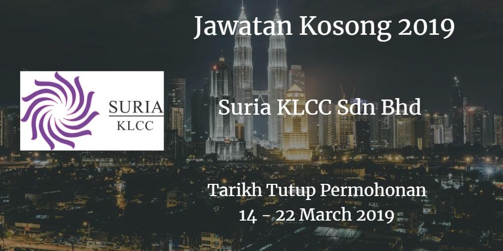 Jawatan Kosong Suria KLCC Sdn Bhd 14 - 22 March 2019