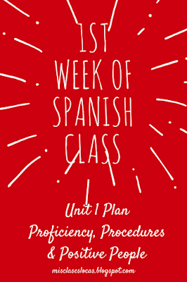 1st Week of Spanish Class - Unit 1 - Mis Clases Locas