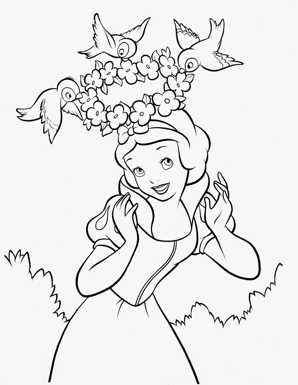 Fun learn free worksheets for kid for Free snow white coloring pages