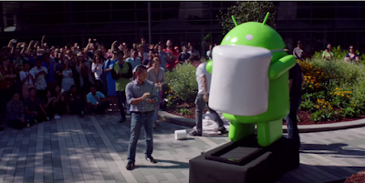 Patung robot Android Marshmallow