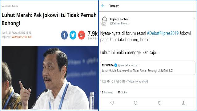 Luhut Bilang Jokowi tak Pernah Bohong, Pengamat: Nyata-nyata di Debat Paparkan Data Bohong