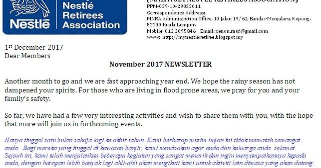 Malaysia Nestle Retirees: MNRA Newsletter - Nov 2017