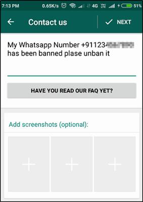whatsapp नंबर banned कर दिया है