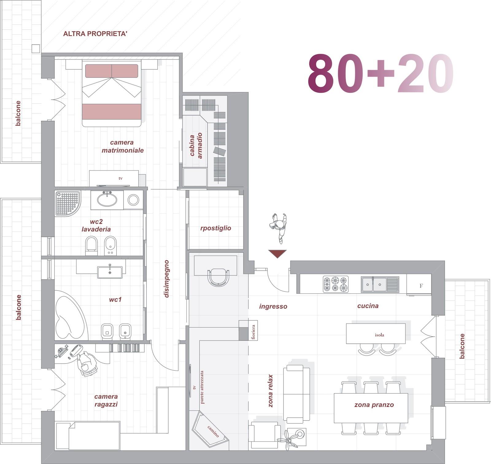 80 20 quando la casa si allarga makeyourhome - Progetto casa 80 mq ...