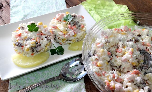 Ensaladilla de arroz con piña. Julia y sus recetas