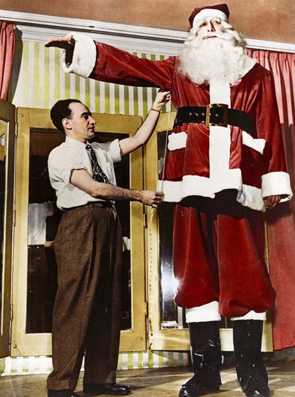 During December 1949, he worked as Santa Claus.