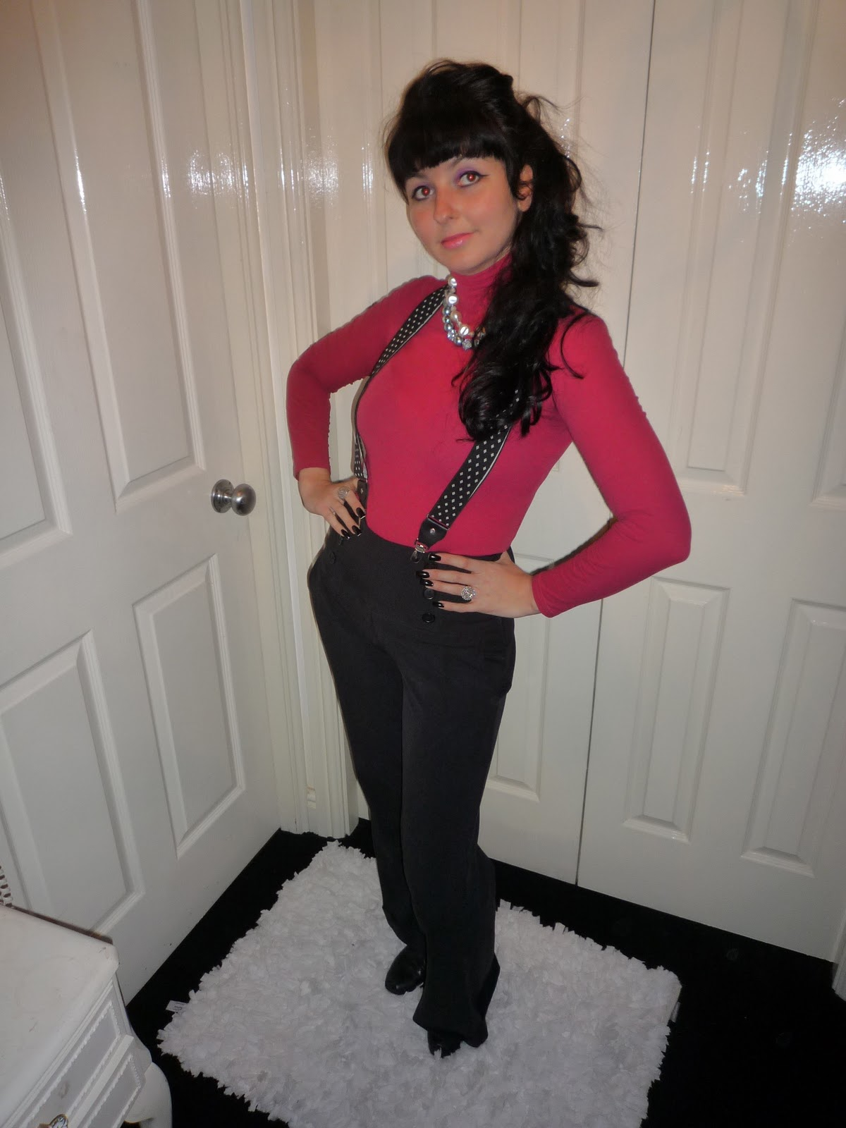 110c82c453 This little Androgynous outfit consists of a hot pink polo neck top which I  teamed with some black high waisted trousers and some vintage mens braces  from ...