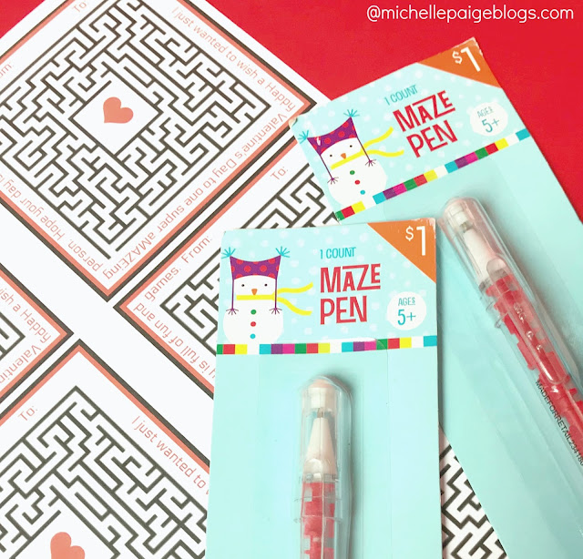 Valentine printables with a maze pen or toy.