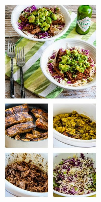 Slow Cooker Green Chile Shredded Beef Cabbage Bowl from Kalyn's Kitchen featured on SlowCookerFromScratch