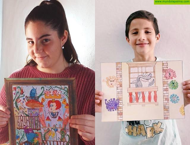 """Lara Ramos Hernández y Pedro Cantos Geiríes ganan el concurso de dibujo y pintura """"El Balcón Ilustrado"""" organizado por el Ayuntamiento de Los Llanos de Aridane"""