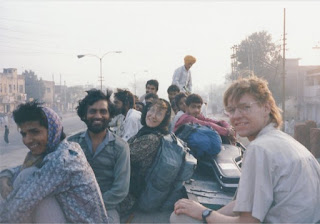 Joanne and I on the roof of the bus in Amritsar,  heading to the Pakistani border