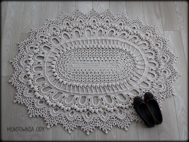 Szydełkowy dywan ze sznurka nowosolskiego
