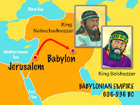 a graphic showing a map of Babylon and its proximity to Jersualem and on it are two photos of two kings of babylon, King Nedudcadnezzar and King Belshazzar courtesty of freebibleimages.org