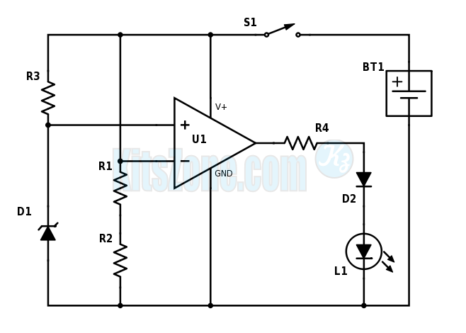Low Battery Level Monitor Using Op-Amp 741