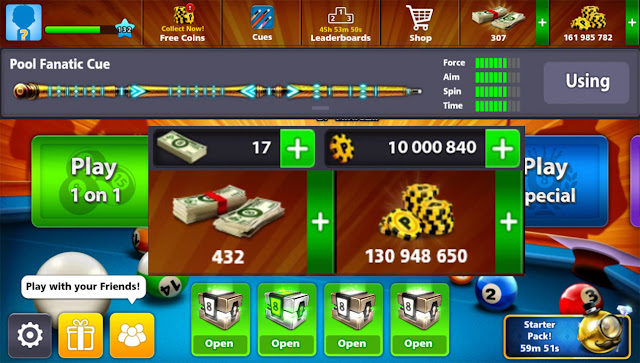 Free 8 ball pool Cash and coins and pool fanatic cue