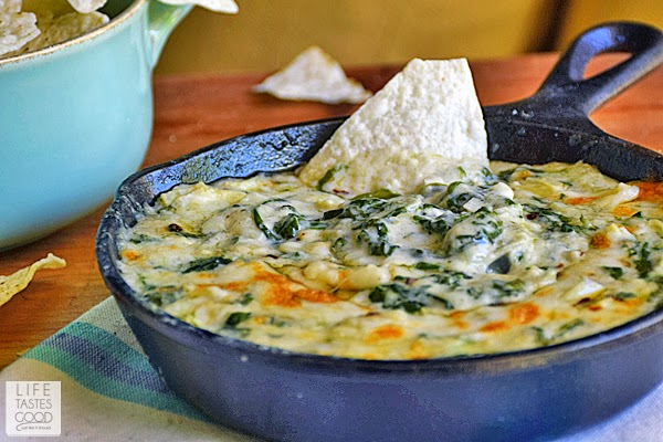 Spinach, artichokes, & a creamy, cheesy Mornay sauce make up this Spinach Artichoke Dip by Life Tastes Good. A tasty appetizer that is quick and easy to make in a skillet.