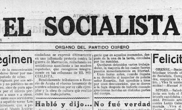 Fragmento de la primera página de El Socialista, 8-5-1923