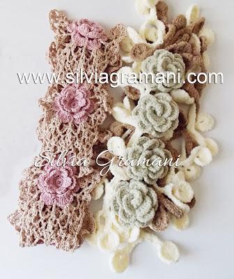 Flores de Crochê - Colar, Cachecol e Cordão