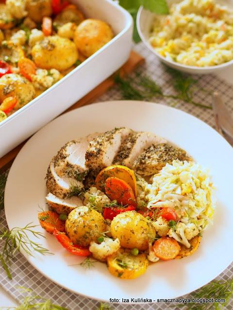piersi ziolowe pieczone, kurczak ziolowy pieczony, warzywa pieczone, kolorowe warzywa, kurczak z czubryca, mieso w ziolach, obiad z piekarnika, dietetyczne danie, obiad dietetyczny