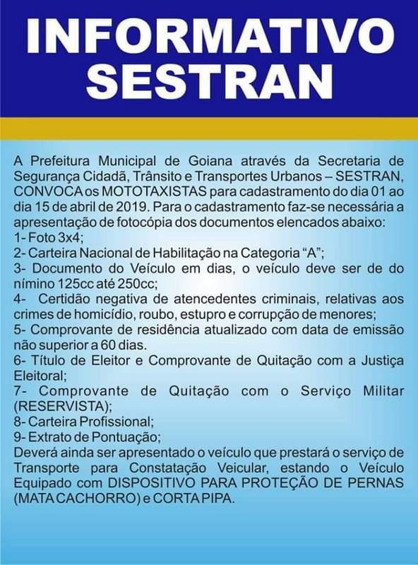 Sestran: Convoca mototaxistas para cadastramento até o dia 15/04