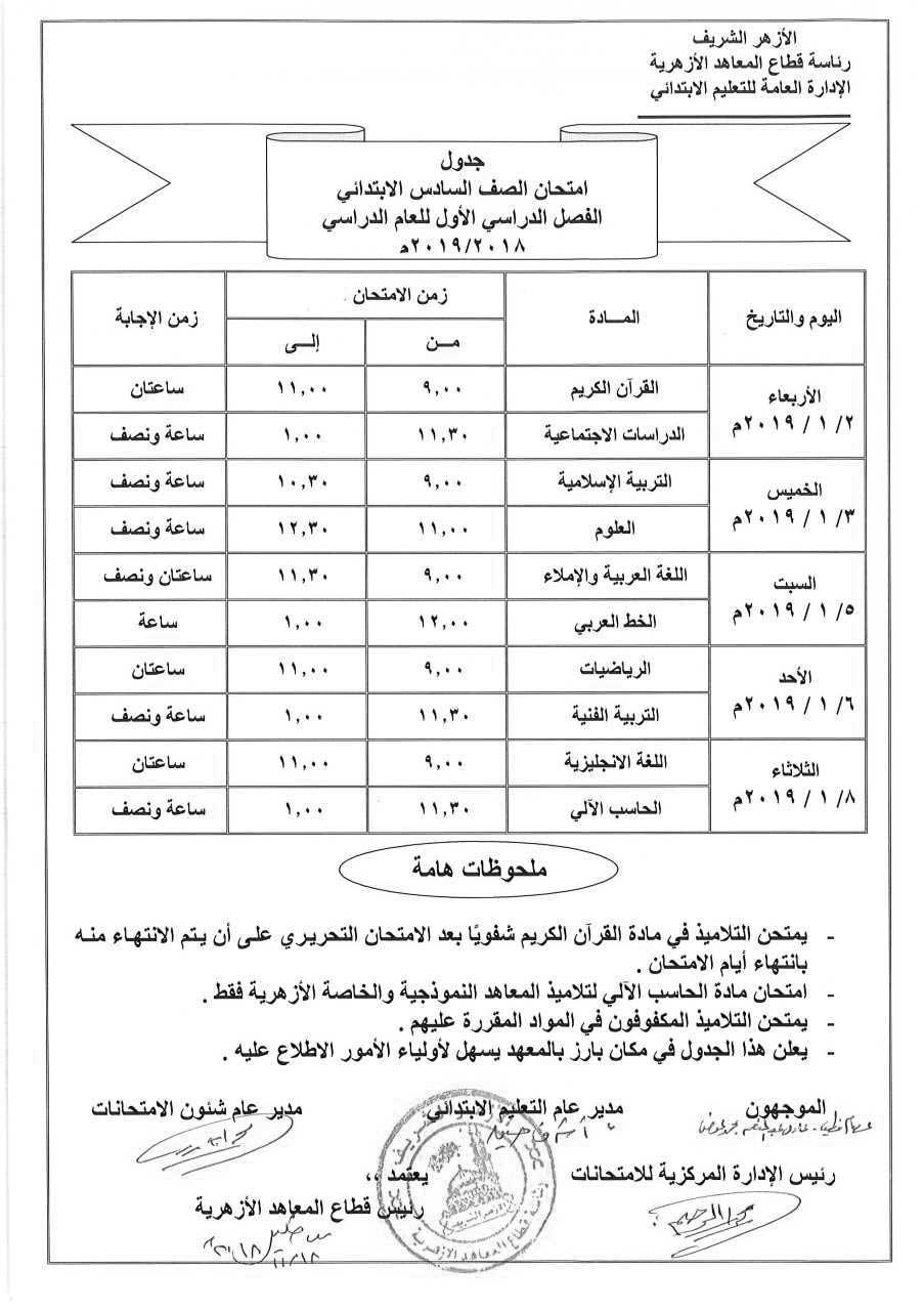 جدول إمتحانات الصف السادس الإبتدائي الأزهري الترم الأول 2019