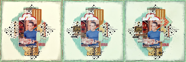 One layout 3 ways by Denise van Deventer using BoBunny Kiss the Cook and Pentart Dekor Varnishes
