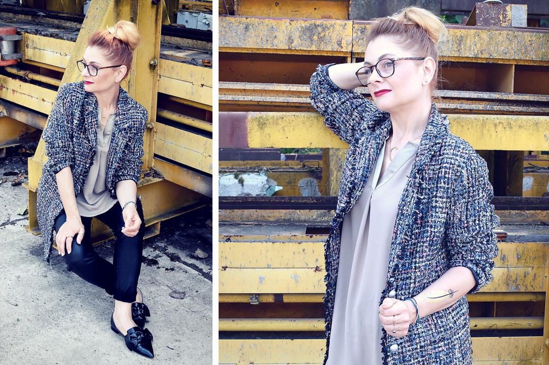 Bouclé Mantel von Amy Vermont by Wenz, schwarze Skinny Jeans für Frauen