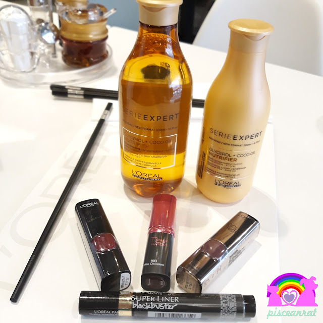L'Oreal for Serie Expert shampoo and conditioner, lipsticks- Collection Star by Sonam, Rouge Magique in Miss Chocolate, Color Riche in Arabian Night and Blackbuster super liner