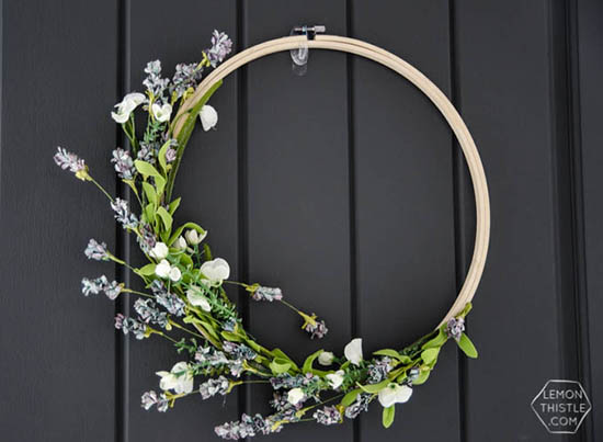 Lemon Thistle - Simple DIY Spring Hoop Wreath
