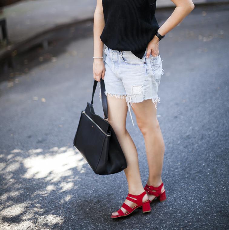 Marais USA jardin heels, Levi's cutoffs, Helut Lang knit cami, Celine Edge