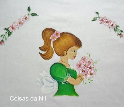pano de copa com boneca pintada vestido verde