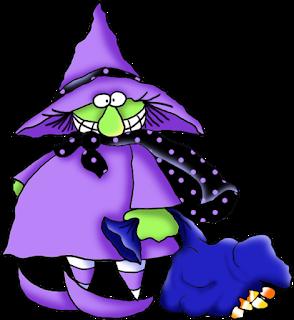 Clipart de Divertida Bruja con Golosinas de Halloween.