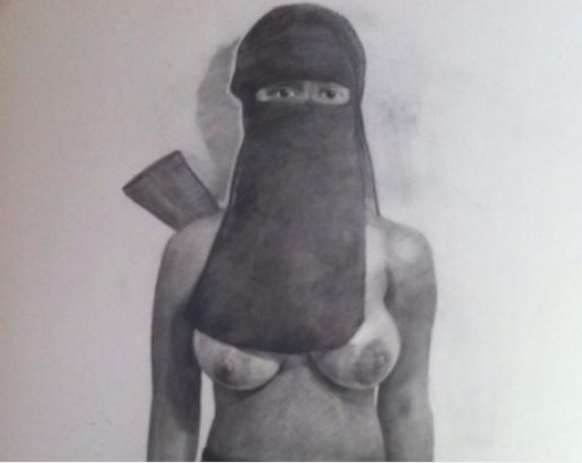 Albanian Artist Provokes: Muslim Woman With Veil and Exposed Breast