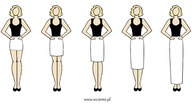 szerokie ramiona wydają się węższe przy dobrze dobranym fasonie spódnicy