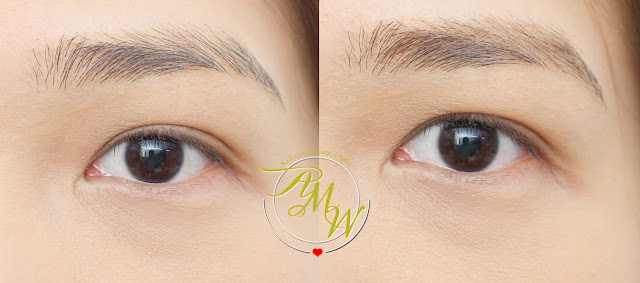 a before and after photo using Benefit 3D BROWTones Brow Enhancer shade 2